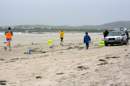 Tiree half marathon crossing the finish line! May '14
